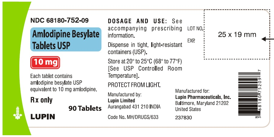 AMLODIPINE BESYLATE TABLETS USP Rx Only 10 mg NDC: <a href=/NDC/68180-752-09>68180-752-09</a> 						90 Tablets