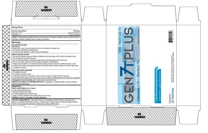 NDC: <a href=/NDC/70645-628-10>70645-628-10</a> GEN 7T PLUS PATCH Dispense by Prescription Lidocaine 3.5% + Menthol 7% 10 PATCHES