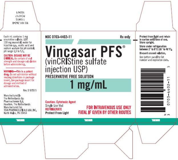 Vincasar PFS® (vincristine sulfate injection USP) 1 mg/mL, 2 mL Single Use Vial Carton