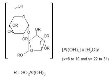 Sucralfate Oral Suspension contains sucralfate and sucralfate is an α-D-glucopyranoside, β-D-fructofuranosyl-, octakis-(hydrogen sulfate), aluminum complex.