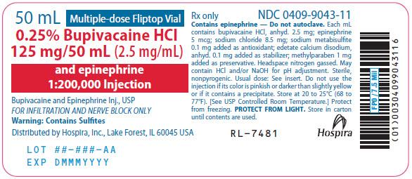 PRINCIPAL DISPLAY PANEL - 125 mg/50 mL Vial Label - 9043