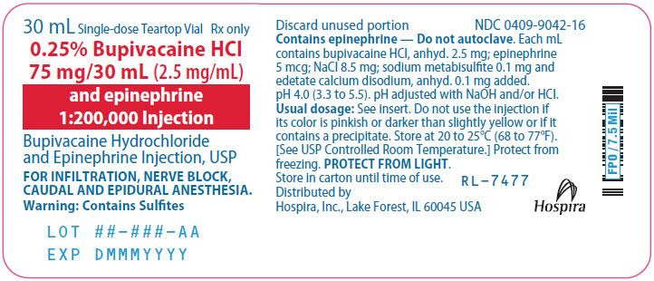 PRINCIPAL DISPLAY PANEL - 75 mg/30 mL Vial Label - 9042