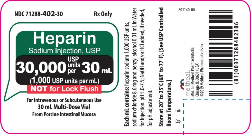 Principal Display Panel – Heparin Sodium Injection, USP 30,000 USP Vial Label