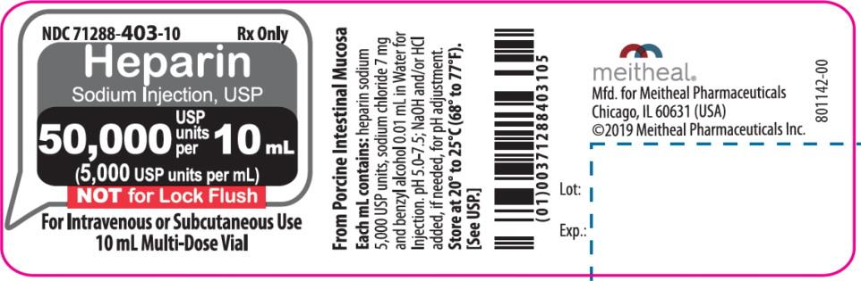 Principal Display Panel – Heparin Sodium Injection, USP 50,000 USP Vial Label