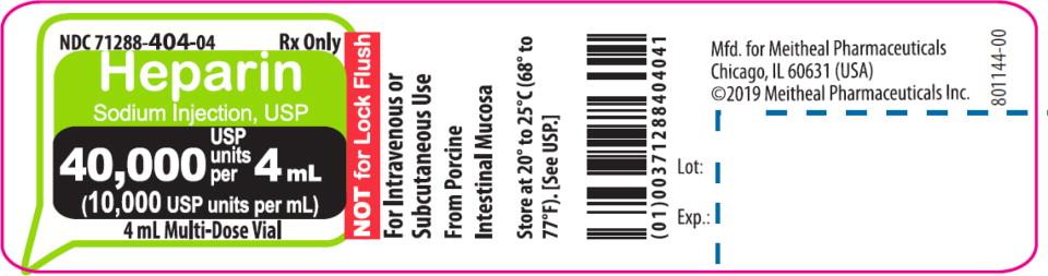 Principal Display Panel – Heparin Sodium Injection, USP 40,000 USP Vial Label