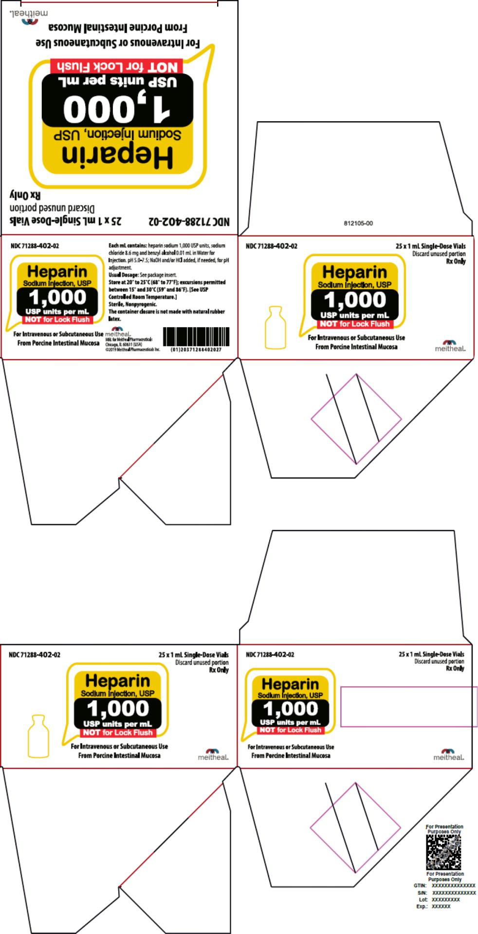 Principal Display Panel – Heparin Sodium Injection, USP 1,000 USP Carton