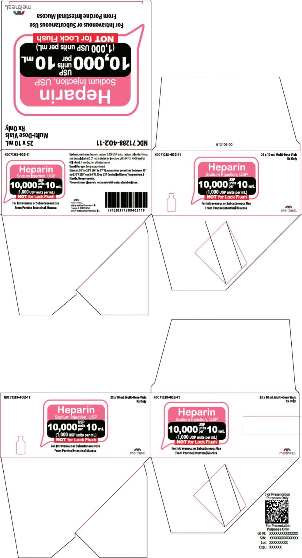 Principal Display Panel – Heparin Sodium Injection, USP 10,000 USP Carton