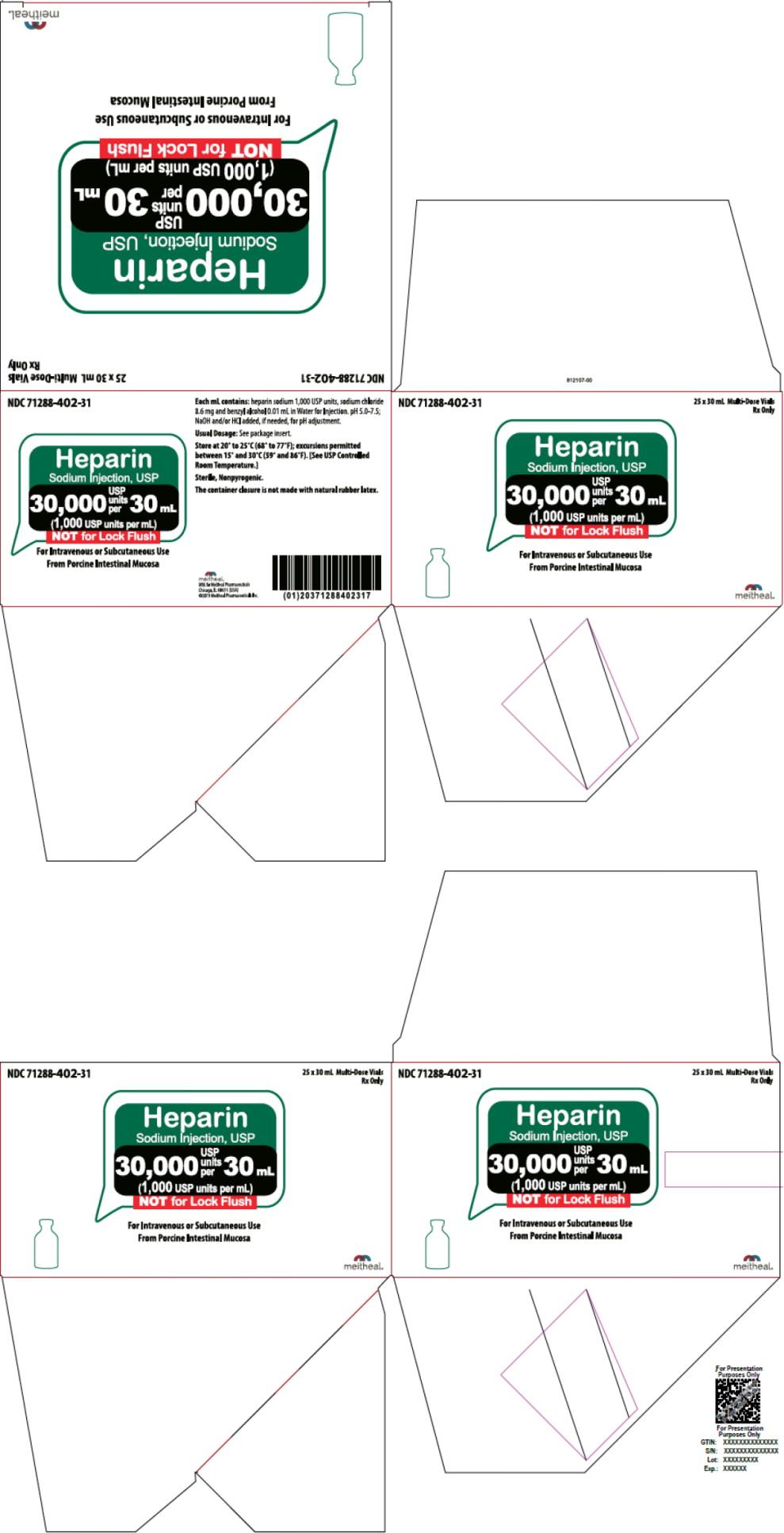 Principal Display Panel – Heparin Sodium Injection, USP 30,000 USP Carton