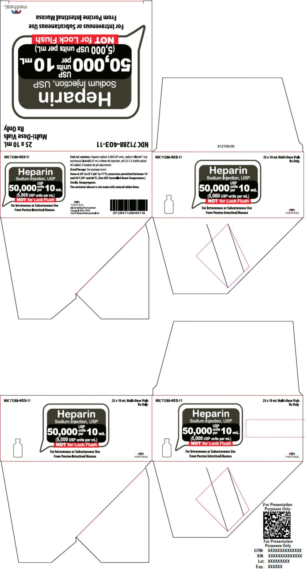 Principal Display Panel – Heparin Sodium Injection, USP 50,000 USP Carton
