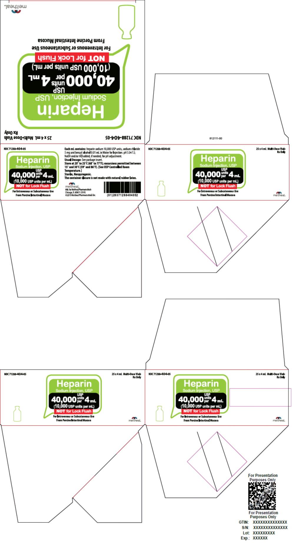 Principal Display Panel – Heparin Sodium Injection, USP 40,000 USP Carton