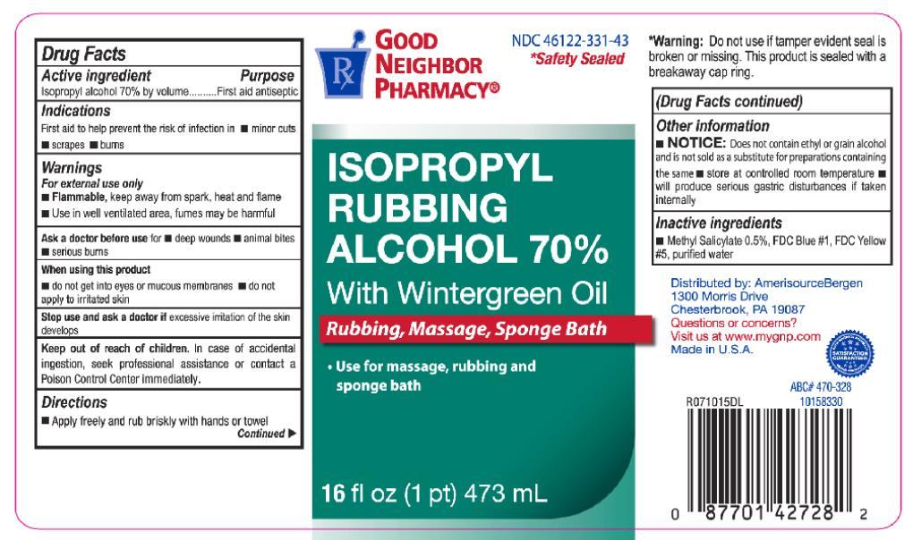 Principal Display Panel NDC: <a href=/NDC/46122-331-43>46122-331-43</a> ISOPROPYL RUBBING ALCOHOL 70% With Wintergreen Oil Rubbing, Massage, Sponge Bath 16 fl oz (1 pt) 473 mL