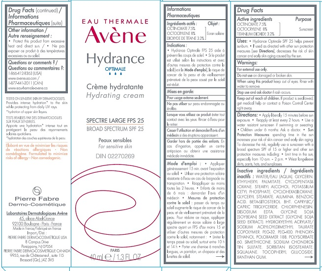 EAU THERMALE Avene Hydrance Optimale Hydrating Cream BROAD SPECTRUM SPF 25 40ml Carton Label