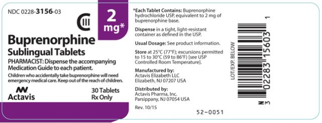 PRINCIPAL DISPLAY PANEL NDC: <a href=/NDC/0228-3156-03>0228-3156-03</a> Buprenorphine Sublingual Tablets 2 mg 30 Tablets Rx Only