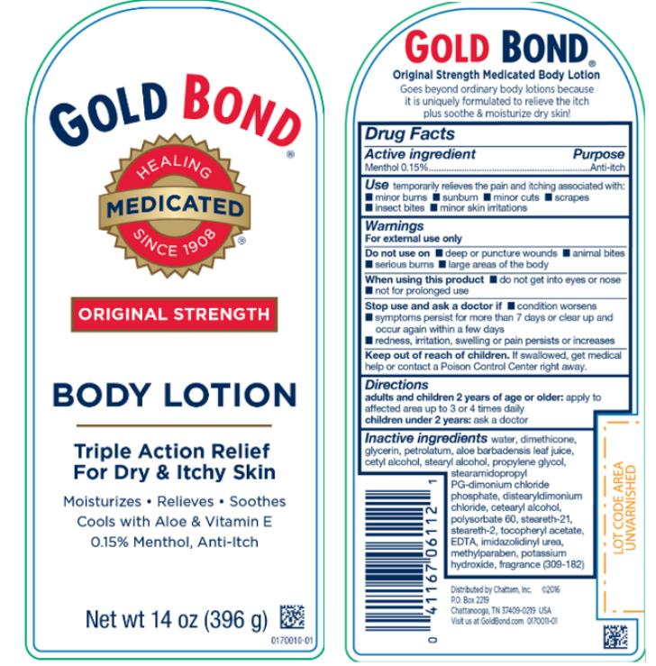 GOLD BOND® ORIGINAL STRENGTH  BODY LOTION Triple Action Relief  For Dry & Itchy Skin Net wt 14 oz (396 g)