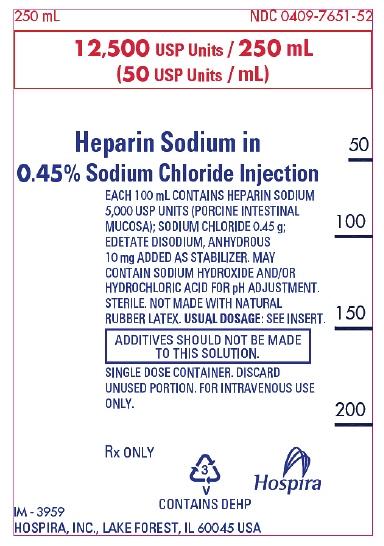 PRINCIPAL DISPLAY PANEL - 250 mL Bag Label - 7651