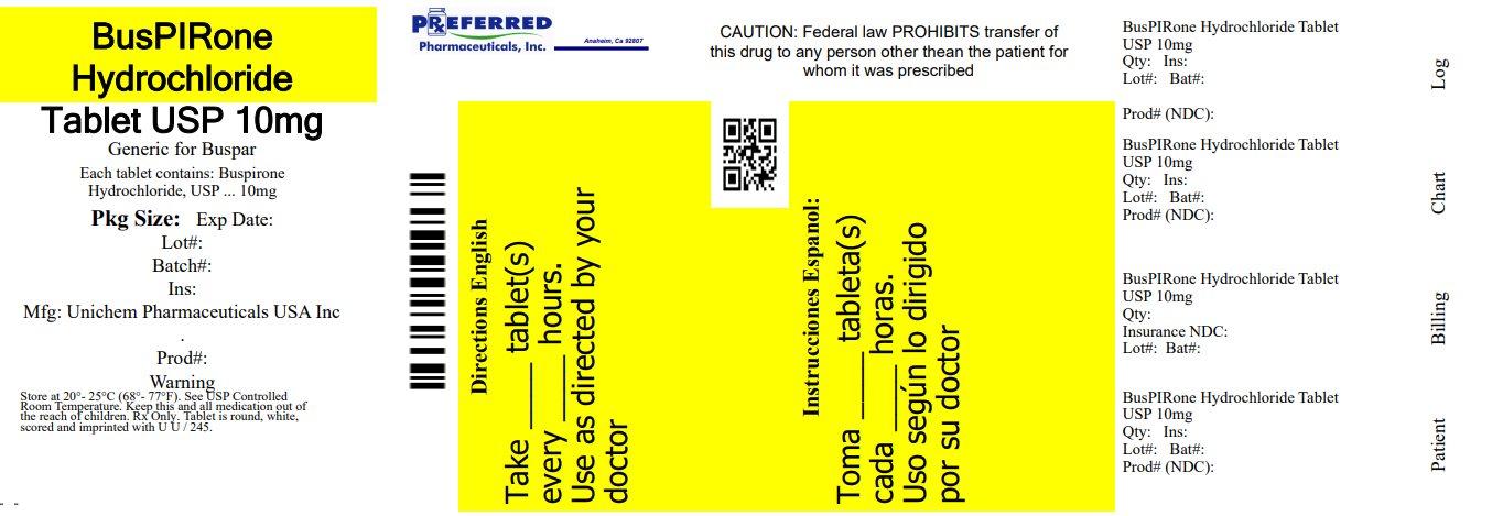 BusPIRone Hydrochloride Tablet USP 10mg