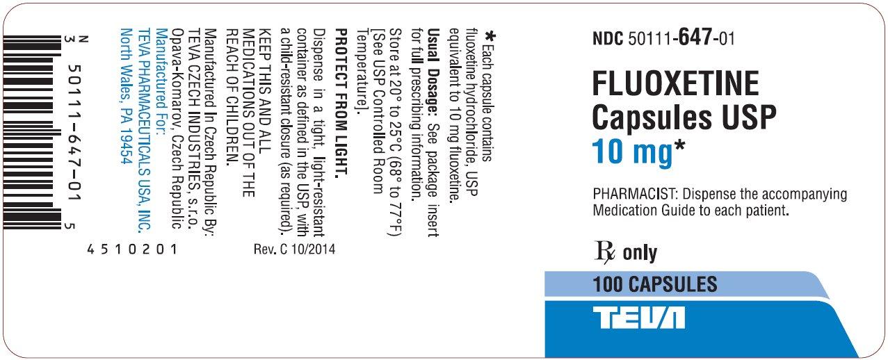 Fluoxetine Capsules USP 10 mg 100s Label