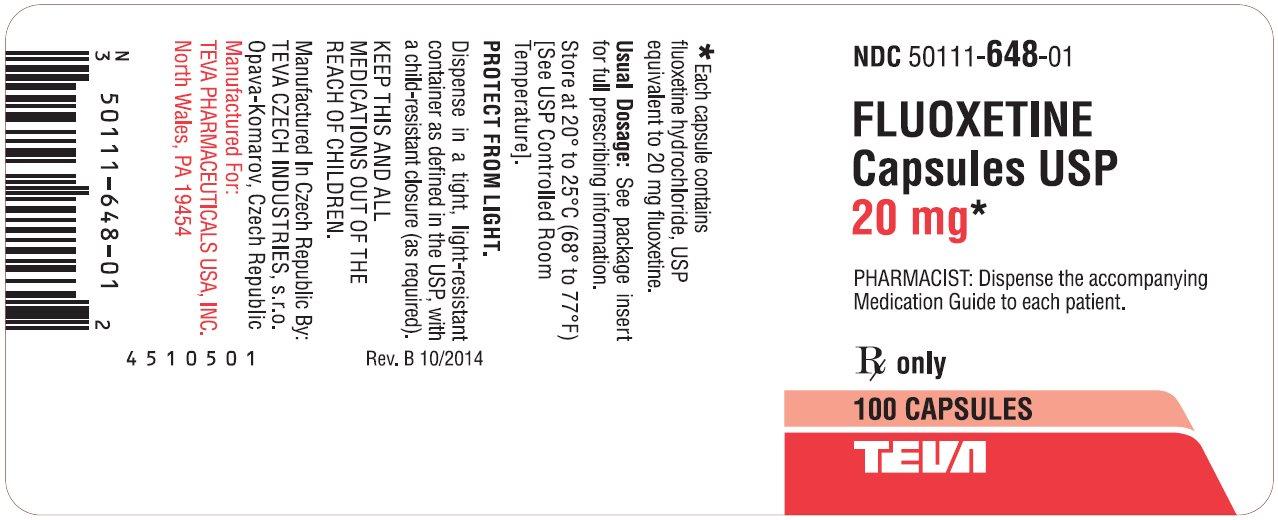 Fluoxetine Capsules USP 20 mg 100s Label