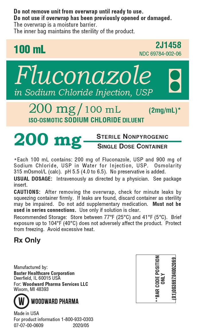 PRINCIPAL DISPLAY PANEL NDC: <a href=/NDC/69784-002-06>69784-002-06</a> 100 mL Fluconazole  in Sodium Chloride Injection, USP 200 mg/ 100 mL (2 mg/mL)* ISO-OSMOTIC SODIUM CHLORIDE DILUENT 200 mg Rx Only