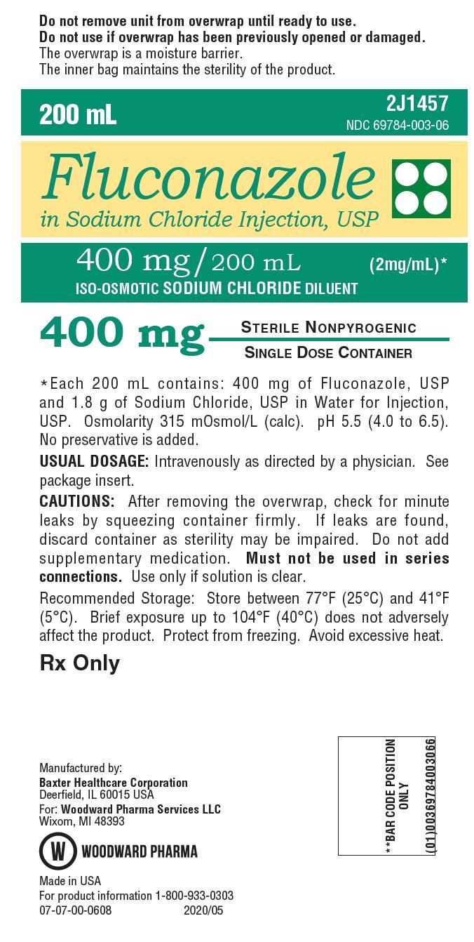PRINCIPAL DISPLAY PANEL NDC: <a href=/NDC/69784-003-06>69784-003-06</a> 200 mL Fluconazole  in Sodium Chloride Injection, USP 400 mg/ 200 mL (2 mg/mL)* ISO-OSMOTIC SODIUM CHLORIDE DILUENT 400 mg Rx Only