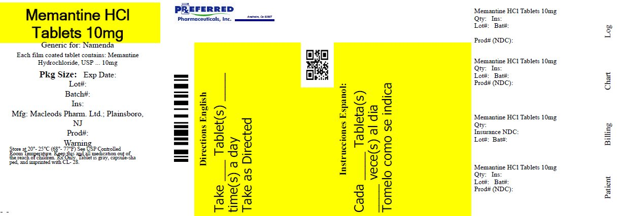 Memantine HCL Tablets 10mg