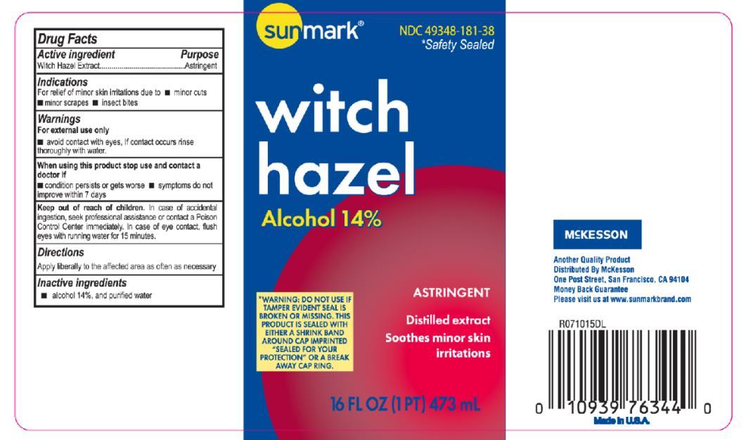 Principal Display Panel NDC: <a href=/NDC/49348-181-38>49348-181-38</a> witch hazel Alcohol 14% 16 FL OZ (1 PT) 473 mL