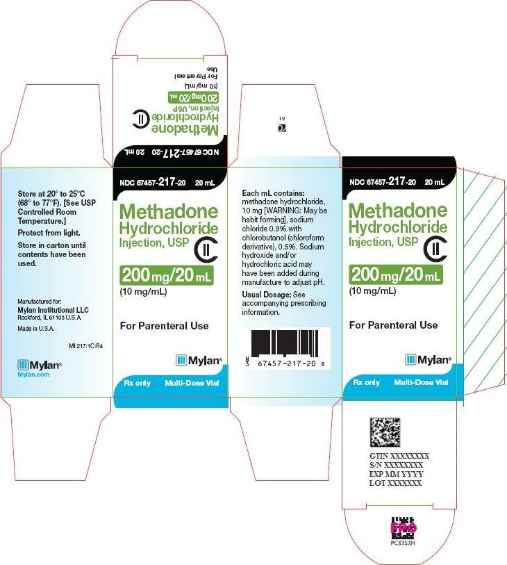 Methadone Hydrochloride Injection 200 mg/20 mL Carton Label