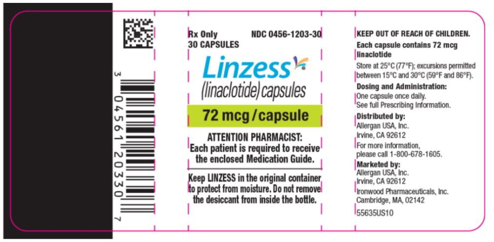 PRINCIPAL DISPLAY PANEL NDC: <a href=/NDC/0456-1203-30>0456-1203-30</a> Rx Only 30 CAPSULES Linzess (linaclotide) capsules 72 mcg/capsule