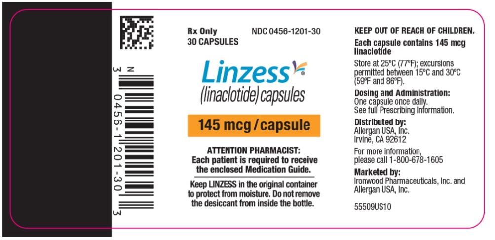 PRINCIPAL DISPLAY PANEL NDC: <a href=/NDC/0456-1201-30>0456-1201-30</a> Rx Only 30 CAPSULES Linzess (linaclotide) capsules 145 mcg/capsule