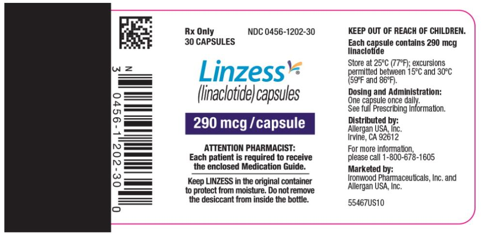 PRINCIPAL DISPLAY PANEL NDC: <a href=/NDC/0456-1202-30>0456-1202-30</a> Rx Only 30 CAPSULES Linzess (linaclotide) capsules 290 mcg/capsule