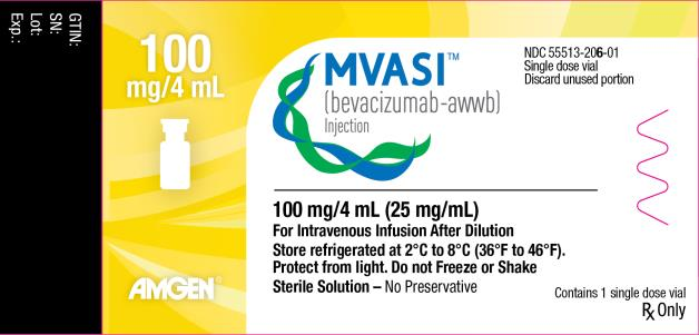 PRINCIPAL DISPLAY PANEL 100 mg/4 mL MVASI™ (bevacizumab-awwb) Injection NDC: <a href=/NDC/55513-206-01>55513-206-01</a> Single dose vial Discard unused portion 100 mg/4 mL (25 mg/mL) Contains 1 single dose vial For Intravenous Infusion After Dilution Store refrigerated at 2°C to 8°C (36°F to 46°F). Protect from light. Do not Freeze or Shake Sterile Solution – No Preservative Rx Only AMGEN®