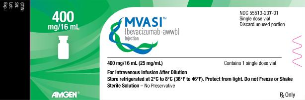 PRINCIPAL DISPLAY PANEL 400 mg/16 mL MVASI™ (bevacizumab-awwb) Injection NDC: <a href=/NDC/55513-207-01>55513-207-01</a> Single dose vial Discard unused portion 400 mg/16 mL (25 mg/mL) Contains 1 single dose vial For Intravenous Infusion After Dilution Store refrigerated at 2°C to 8°C (36°F to 46°F). Protect from light. Do not Freeze or Shake Sterile Solution – No Preservative Rx Only AMGEN®