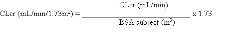 Then CLcr is adjusted for body surface area (BSA) as follows