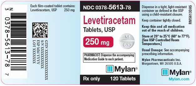 Levetiracetam Tablets 250 mg Bottle Label