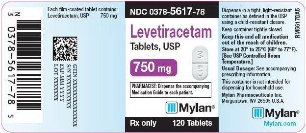 Levetiracetam Tablets 750 mg Bottle Label