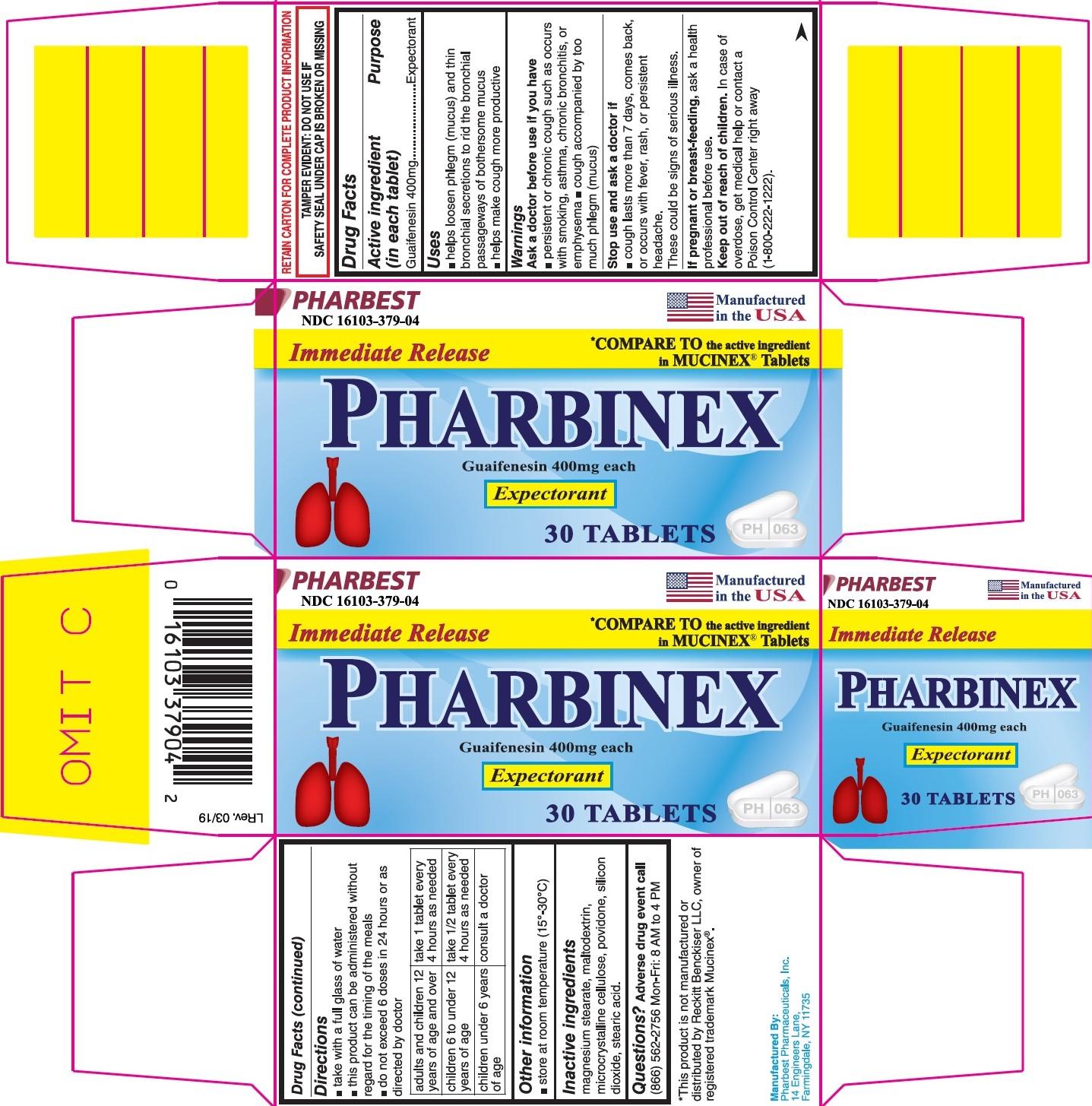 Pharbinex Tablet Product Label