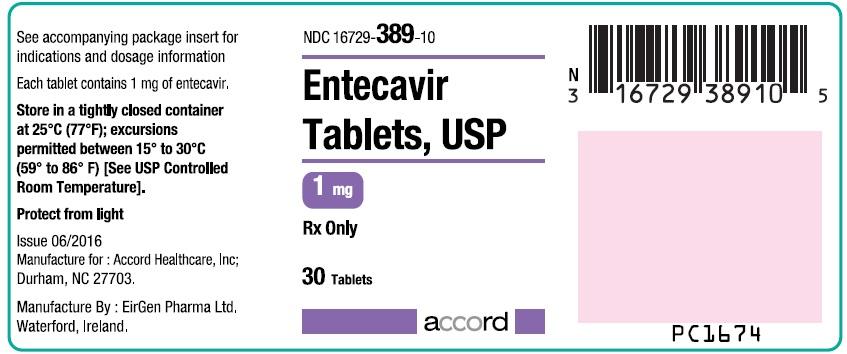 Entecavir 1 mg Tablet Bottle Label