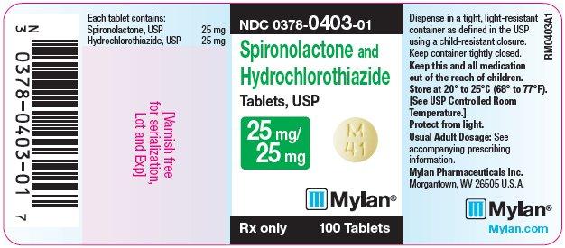 Spironlactone and Hydrochlorothiazide Tablets 25 mg/25 mg Bottle Label