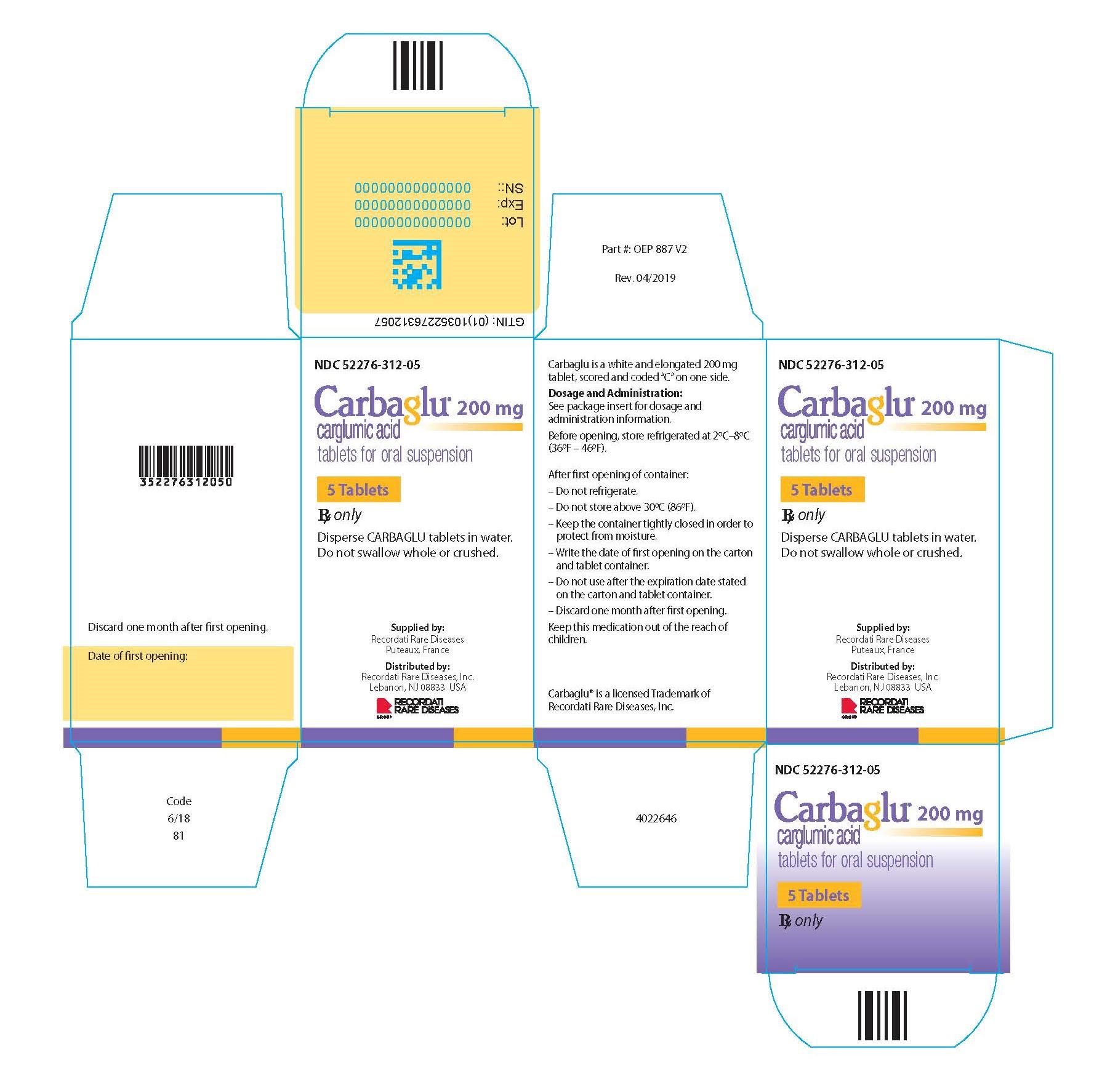 Carbaglu carton label - 5 Tablets