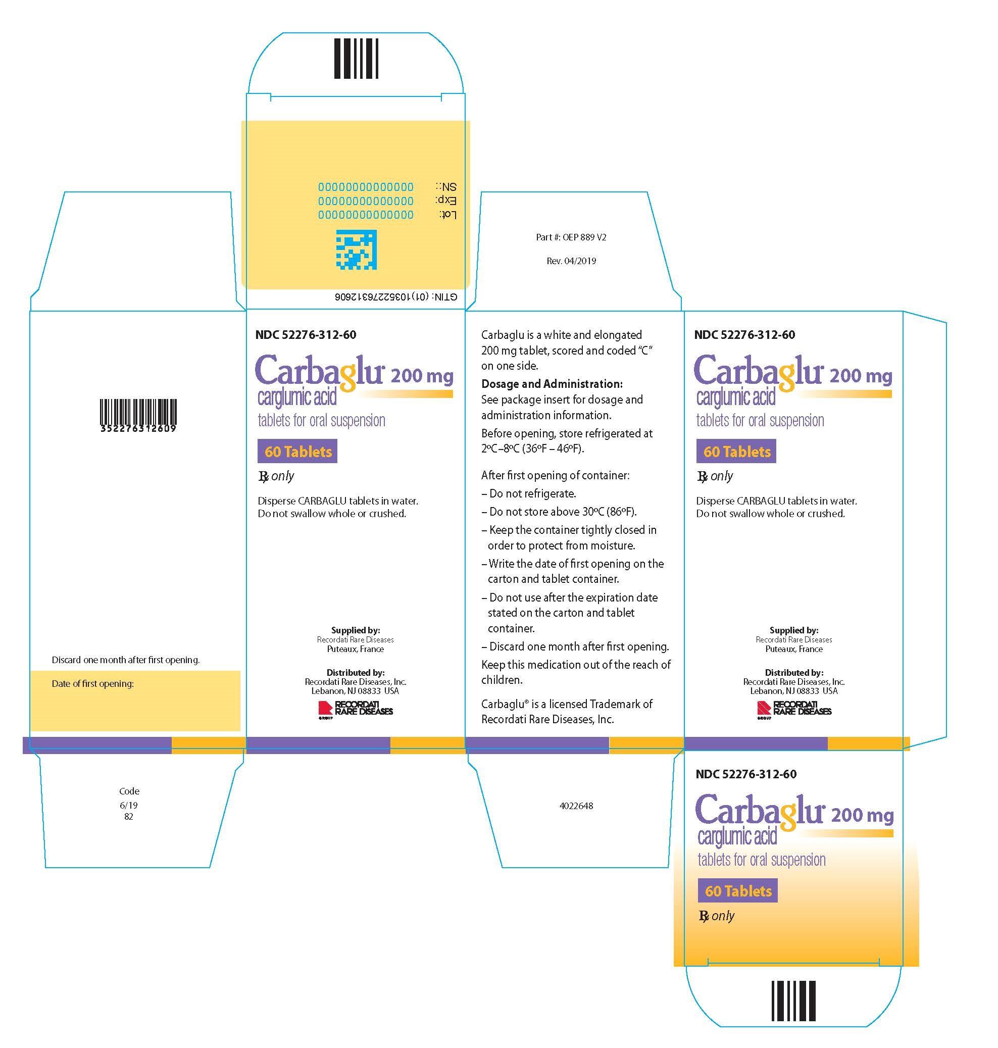 Carbaglu carton label - 60 Tablets
