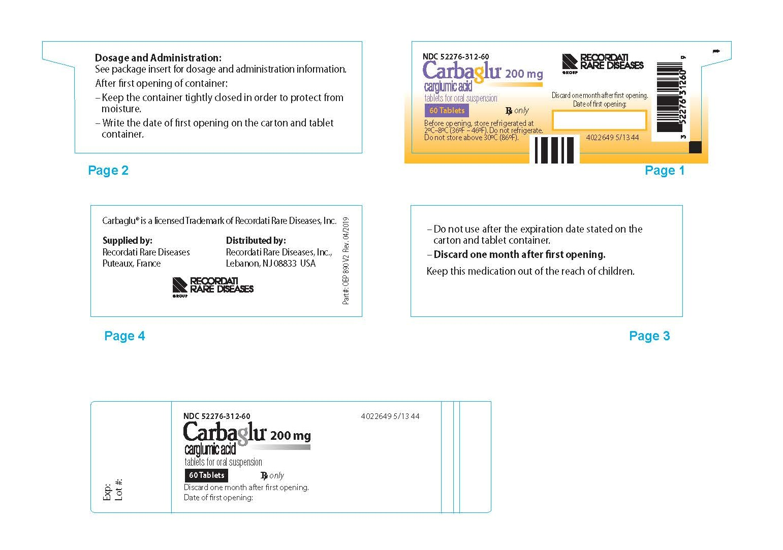 Carbaglu bottle label - 60 Tablets