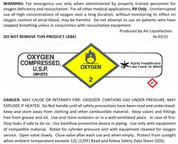 Label, 1072 Oxygen, Compressed