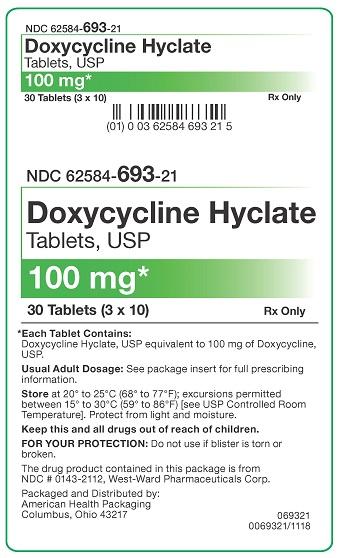 100 mg Doxycycline Hyclate Tablets Carton