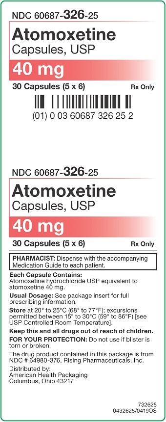 40 mg Atomoxetine Capsules Carton