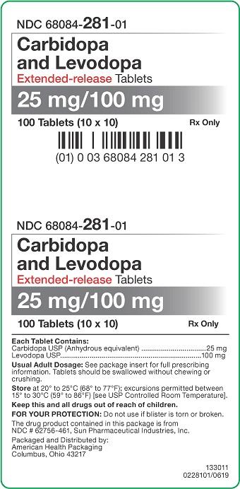 25mg/100mg Carbidopa/Levodopa ER Tablets Carton