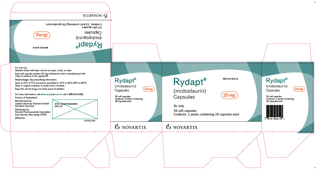 PRINCIPAL DISPLAY PANEL Rydapt® NDC: <a href=/NDC/0078-0698-99>0078-0698-99</a> (midostaurin) Capsules 25 mg Rx only 56 soft capsules Contents: 2 packs containing 28 capsules each NOVARTIS
