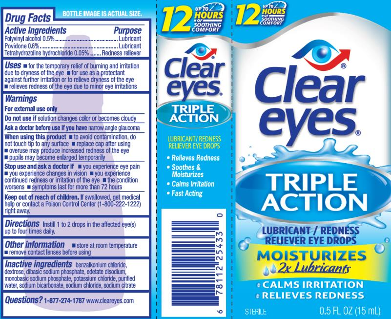 PRINCIPAL DISPLAY PANEL  Clear eyes® TRIPLE ACTION  LUBRICANT/REDNESS  RELIEVER EYE DROPS  STERILE 0.5 FL OZ (15 mL)