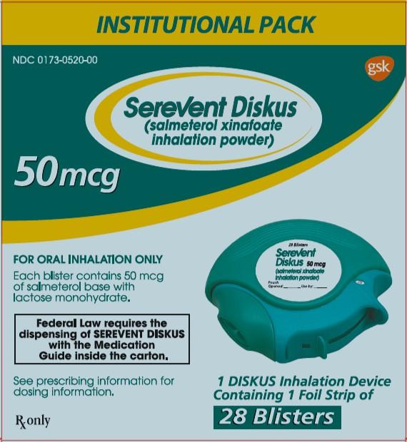 Serevent Diskus 50mcg Institutional Pack 28 dose carton