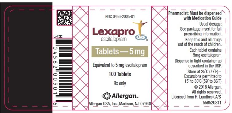 NDC: <a href=/NDC/0456-2005-01>0456-2005-01</a> Lexapro escitalopram oxalate Tablets 5 mg 100 Tablets Rx Only