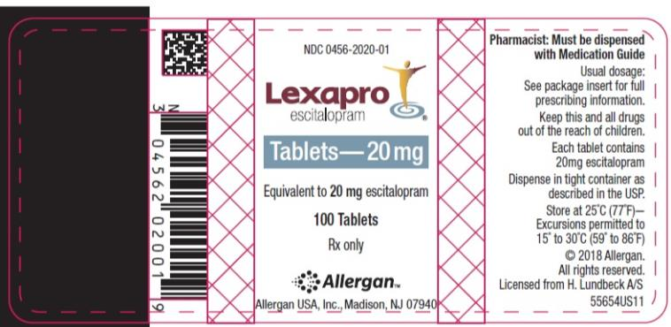 NDC: <a href=/NDC/0456-2020-01>0456-2020-01</a> Lexapro escitalopram oxalate Tablets 20 mg 100 Tablets Rx Only